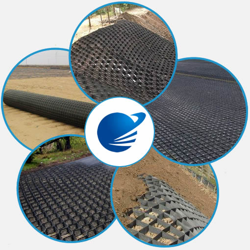 Five pictures show the reinforcement applications of geogrids and geocells.