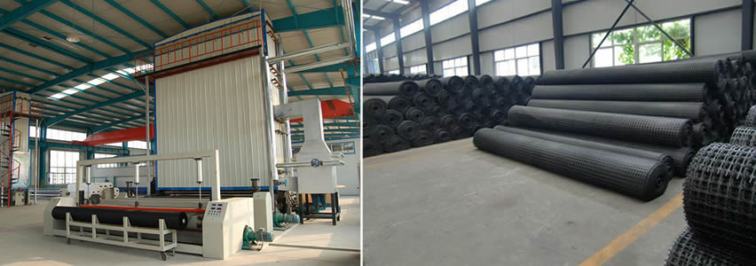There are two pictures. The first shows the geogrid workshop, the second shows the geogrid warehouse.